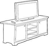 Outlined Cabinet and TV Royalty Free Stock Image