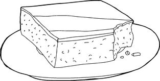 Outlined Cake with Missing Bite Stock Image