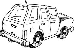 Outlined Car Sketch Stock Photo