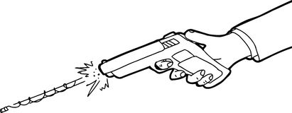 Outlined Cartoon of Gun Firing. Outlined cartoon of hand firing pistol over white background Royalty Free Stock Photos