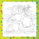 Outlined Cartoon Island With Palm Tree and rock Stock Image