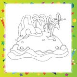 Outlined Cartoon Island With Palm Tree and rock Royalty Free Stock Images