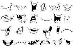 Outlined cartoon mouths. Outlined set of cartoon mouths stock illustration
