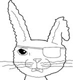 Outlined Cartoon Pirate Bunny Royalty Free Stock Photo
