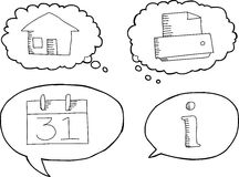 Outlined Cartoon Tech Symbols Stock Photos