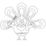 Outlined cartoon turkey. Happy Thanksgiving day concept. Kids coloring book. Stock Photo