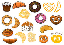 Outlined and cartooned buns, cake, croissants, stock illustration