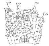 Outlined castle. Illustration of coloring page line art of a castle