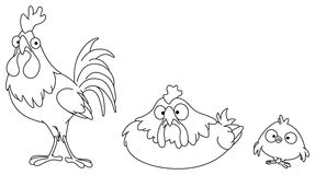 Outlined chicken family Royalty Free Stock Images