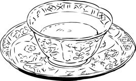 Outlined Chinese Teacup and Saucer Royalty Free Stock Photography