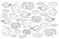 Outlined coral fishes horizontal coloring page. Tropical fish coloring card. royalty free illustration