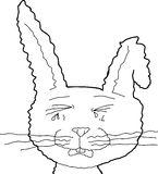 Outlined Crying Rabbit Royalty Free Stock Photography