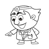 Outlined cute doctor Stock Photography