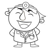 Outlined cute doctor Royalty Free Stock Photos