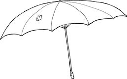 Outlined Damaged Umbrella Royalty Free Stock Image