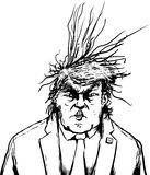 Outlined Donald Trump with Frazzled Hair Stock Photo