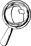 Outlined Eye Under Magnifying Glass Royalty Free Stock Photos