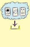 Outlined Files to Download From Cloud. Sketchy doodle of silly icons as files in computer server cloud ready for download royalty free illustration