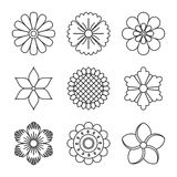Outlined flowers icons. Elements of abstract flowers. Submitted in a linear style Stock Images