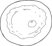 Outlined Fried Egg Plate Royalty Free Stock Photo