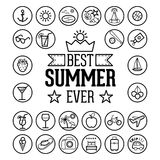 Outlined Funny and Cool Summer Icon Vintage Set Collection Royalty Free Stock Images