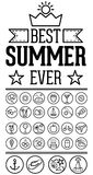 Outlined Funny and Cool Summer Icon Vintage Set Collection Stock Photography