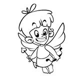 Outlined funny cupid cartoon character with bow and arrow. Vector coloring illustration for Valentine`s Day Royalty Free Stock Images