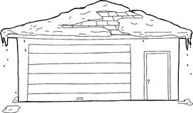 Outlined Garage and Door with Snow Stock Images
