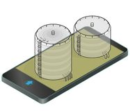 Outlined gasoline cistern, isometric building in mobile phone. Gas tank on pillars in communication technology, paraphrase. Stock Image