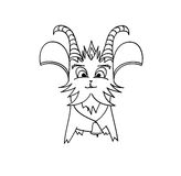 Outlined Goat Cartoon Character Stock Images