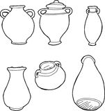 Outlined Greek Vases Royalty Free Stock Images