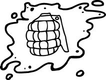 Outlined Grenade in Blood Royalty Free Stock Images