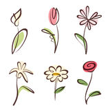 Outlined hand drawn flower collection Stock Image