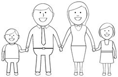 Outlined Happy Family. Cartoon family standing together holding hands and smiling Stock Photo