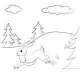 Outlined hare running in the forest. Outlined Illustration with running hare in the forest for children`s coloring books Stock Photos