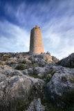 Outlined on a hilltop are the ruins of the Castle of Xiquena Stock Photography