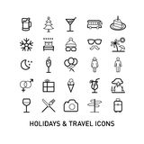 Outlined Holidays and Travels Icon Set Royalty Free Stock Photo