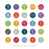 Outlined Holidays and Travels Icon Set Royalty Free Stock Image