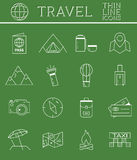 Outlined Holidays and Travels Icon Set Collection Stock Photos