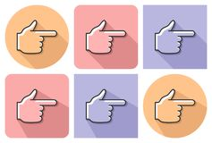 Outlined icon of hand with forefinger pointing forward. With parallel and not parallel  long shadows Royalty Free Stock Photography