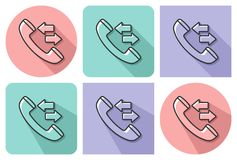 Outlined icon of handset and incoming-outgoing arrrows. With parallel and not parallel  long shadows Stock Photography