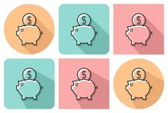 Outlined icon of piggy bank. With parallel and not parallel long shadows royalty free illustration