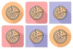 Outlined icon of pizza. With parallel and not parallel long shadows vector illustration