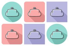 Outlined icon of purse. Outlined icon of  purse  with parallel and not parallel  long shadows Stock Photography