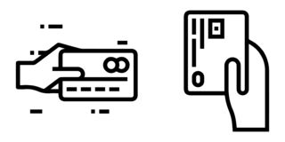 Outlined Icon Set: Credit Card Payment Method.  royalty free illustration