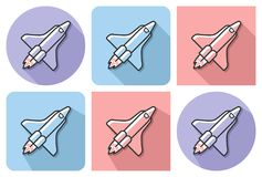 Outlined icon of space shuttle. With parallel and not parallel long shadows royalty free illustration