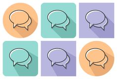 Outlined icon of two blank speech bubbles. Dialogue icon with parallel and not parallel long shadows vector illustration
