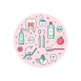 Outlined icons about dentistry Royalty Free Stock Photos