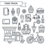 Outlined icons street food. Set of linear icons food truck. The concept of fast food, fast food, street food. Hamburger. coffee, ice cream. It can be used as stock illustration