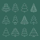 Outlined icons tree. White contour icons. Christmas trees on a green background Royalty Free Stock Images